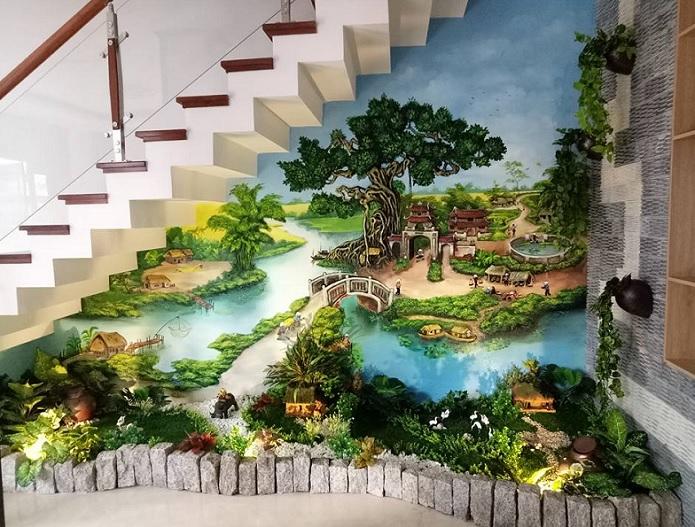 vẽ tranh tường cầu thang đẹp