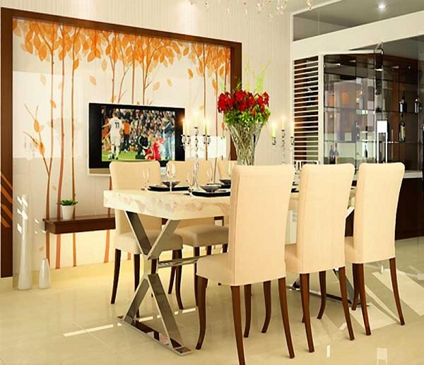 vẽ tranh tường phòng ăn đẹp