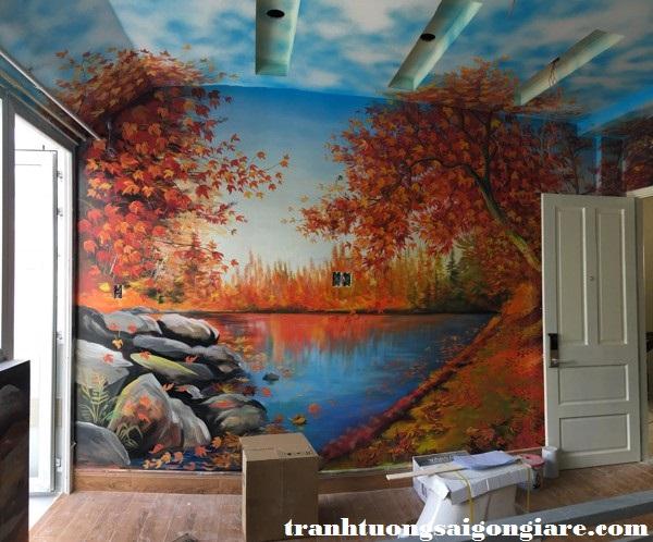 vẽ tranh tường khách sạn phong cảnh
