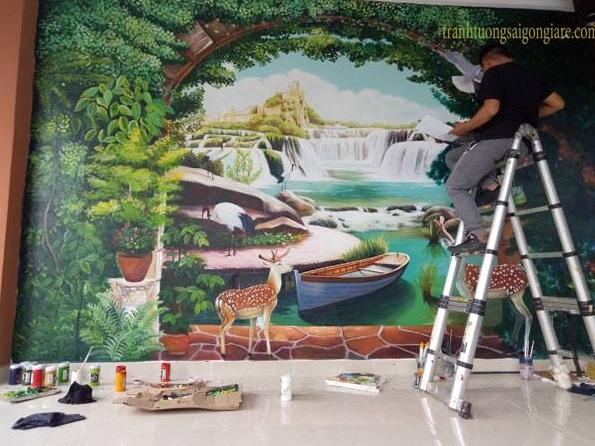 nhận vẽ tranh tường phong cảnh